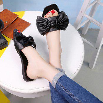 Flat Heel Bowknot Faux Leather Slippers - BLACK 37