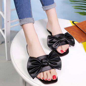 Flat Heel Bowknot Faux Leather Slippers - BLACK BLACK