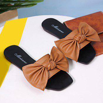 Flat Heel Bowknot Faux Leather Slippers - BROWN 39