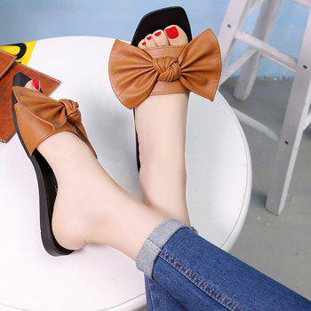 Flat Heel Bowknot Faux Leather Slippers - BROWN 38