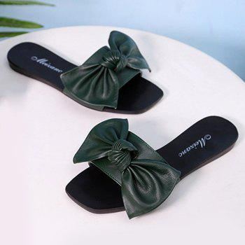 Flat Heel Bowknot Faux Leather Slippers - BLACKISH GREEN BLACKISH GREEN