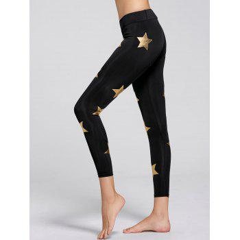 Sparkly Star Printed Sports Leggings - BLACK M