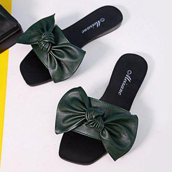 Flat Heel Bowknot Faux Leather Slippers - 38 38