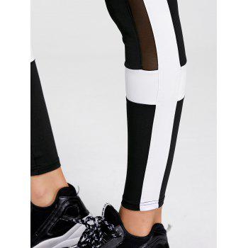 Contrast Mesh Panel Workout Leggings - BLACK M