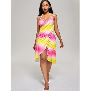 Ombre Wrap Cover Up Dress - YELLOW/RED ONE SIZE