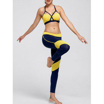 Padding Cutout Sports Bra and Leggings - YELLOW YELLOW