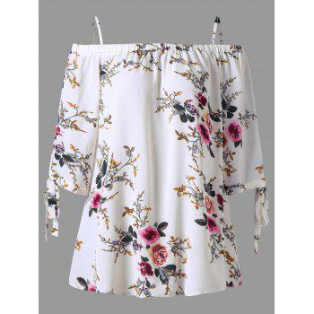 Plus Size Floral Off the Shoulder Blouse