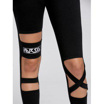 Drawstring Cutout Ripped Sports Joggers Pants - BLACK S