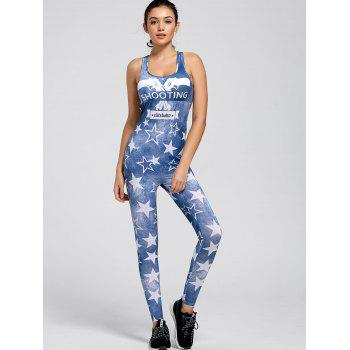 Active Shooting Printed Racerback Leggings Jumpsuit - BLUE M