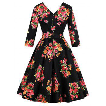 Floral Plus Size Midi A Line Dress - Noir 3XL