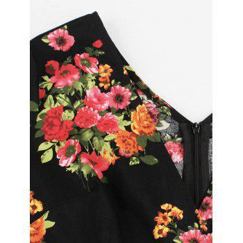 Floral Plus Size Midi A Line Dress - BLACK 4XL