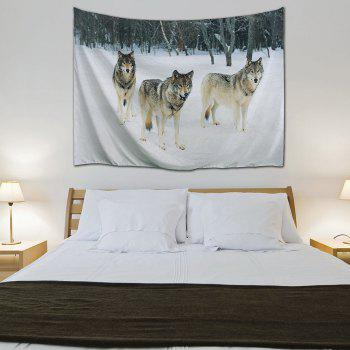 Snowfield Wolf Wall Hanging Fabric Throw Tapestry - COLORMIX W59 INCH * L59 INCH
