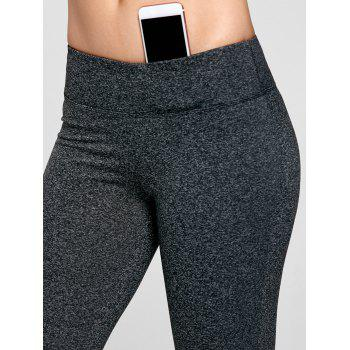 Marled Bell Bottom Yoga Pants - DEEP GRAY M