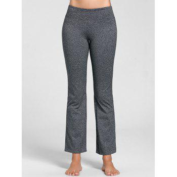 Marled Bell Bottom Yoga Pants - GRAY XL