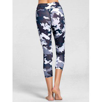 High Rise Camouflage Print Sports Leggings - BLACK M