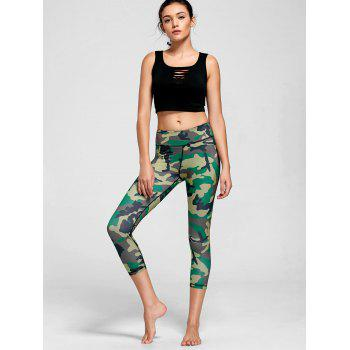 High Rise Camouflage Print Sports Leggings - GREEN M