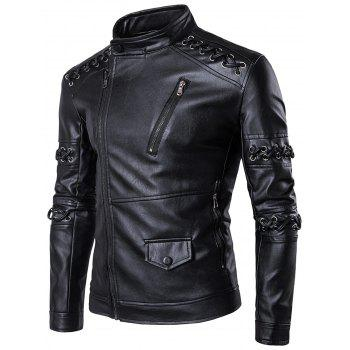 Asymétrique Zip Up Sennit Design Biker Jacket - Noir 2XL