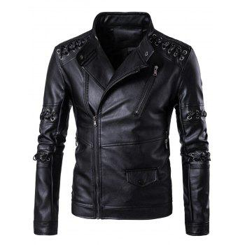 Asymmetrical Zip Up Sennit Design Biker Jacket