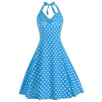 Polka Dot Lace Up Halter A Line Dress