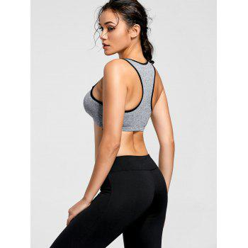 Fishnet Mesh Keyhole Padded Sports Bra - BLUE GRAY M