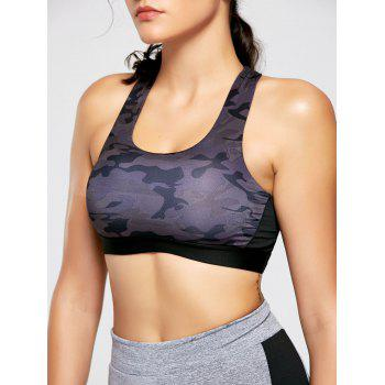 Camo Print Padded Strappy Bandage Sports Bra - ACU CAMOUFLAGE L