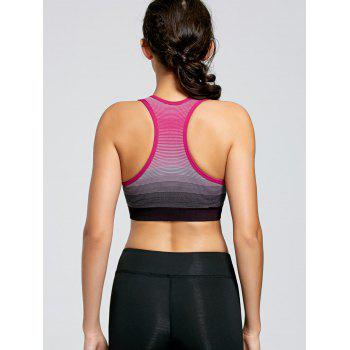 Stripe Ombre Padded Yoga Bra - WATERMELON RED WATERMELON RED