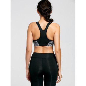Padded Ink Painting Yoga Bra - CHROME XL