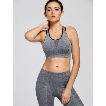 Padding Sports Racerback Bra - GRAY GRAY