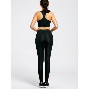 Unlined Racerback Bra and Stripe Panel Leggings - M M