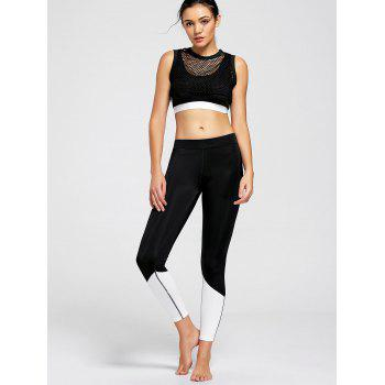 Fishnet Crop Top and Sports Bra - BLACK BLACK