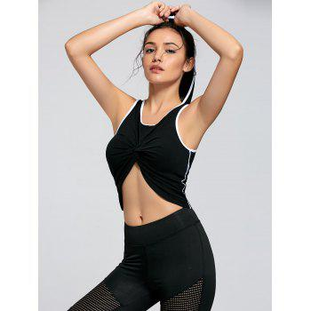 Active Contrast Knot Hooded Crop Top - BLACK BLACK