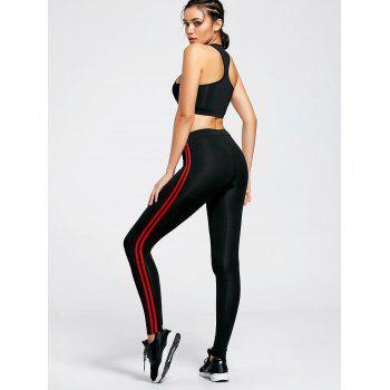 Unlined Racerback Bra and Stripe Panel Leggings - BLACK BLACK