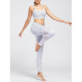 Printed Strappy Bra and Mesh Panel Workout Leggings - WHITE WHITE