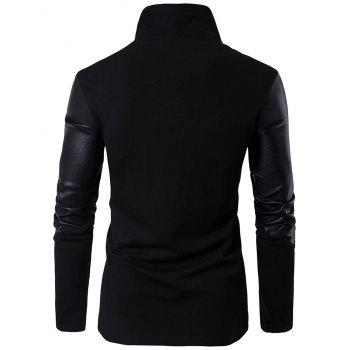 Asymmetrical Zip Faux Leather Insert Pullover Top - BLACK 2XL