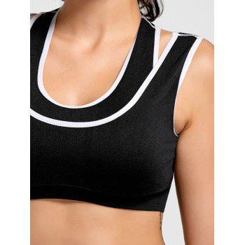 Contrast Two-layered Padded Sports Bra - BLACK L