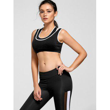 Contrast Two-layered Padded Sports Bra - BLACK M