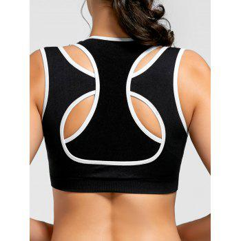Contrast Two-layered Padded Sports Bra - BLACK BLACK