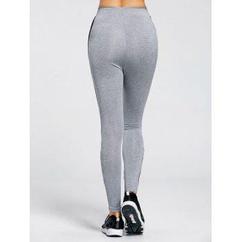 Side Criss Cross Fitness Leggings - GRAY M