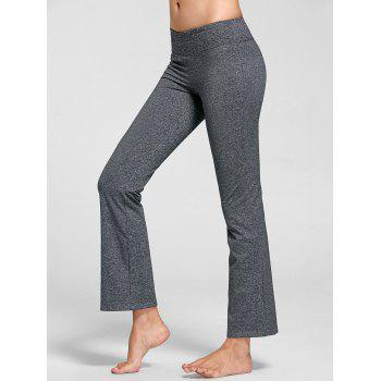 Marled Bell Bottom Yoga Pants - GRAY S