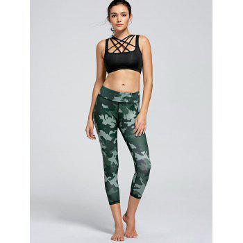 High Waist Camo Printed Fitness Leggings - GREEN XL