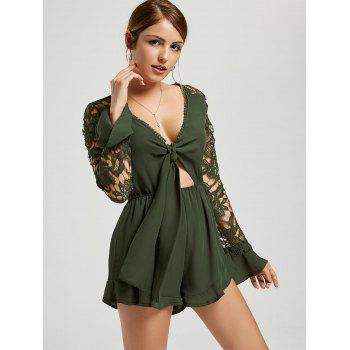 Plunging Neck Long Sleeve Chiffon Romper - GREEN S