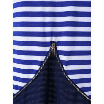 Zip Back Chiffon Trim Striped Top - BLUE XL
