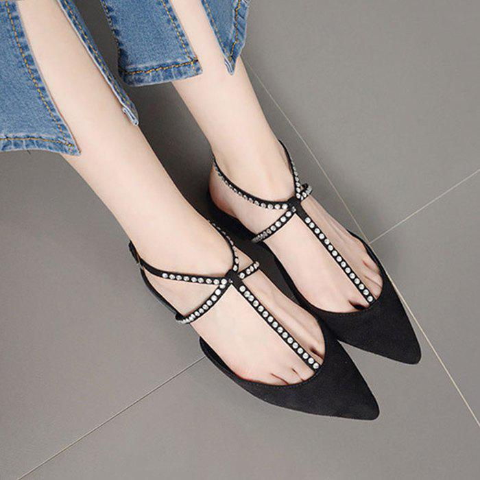 Suede Beaded Point Toe Flats - Noir 39