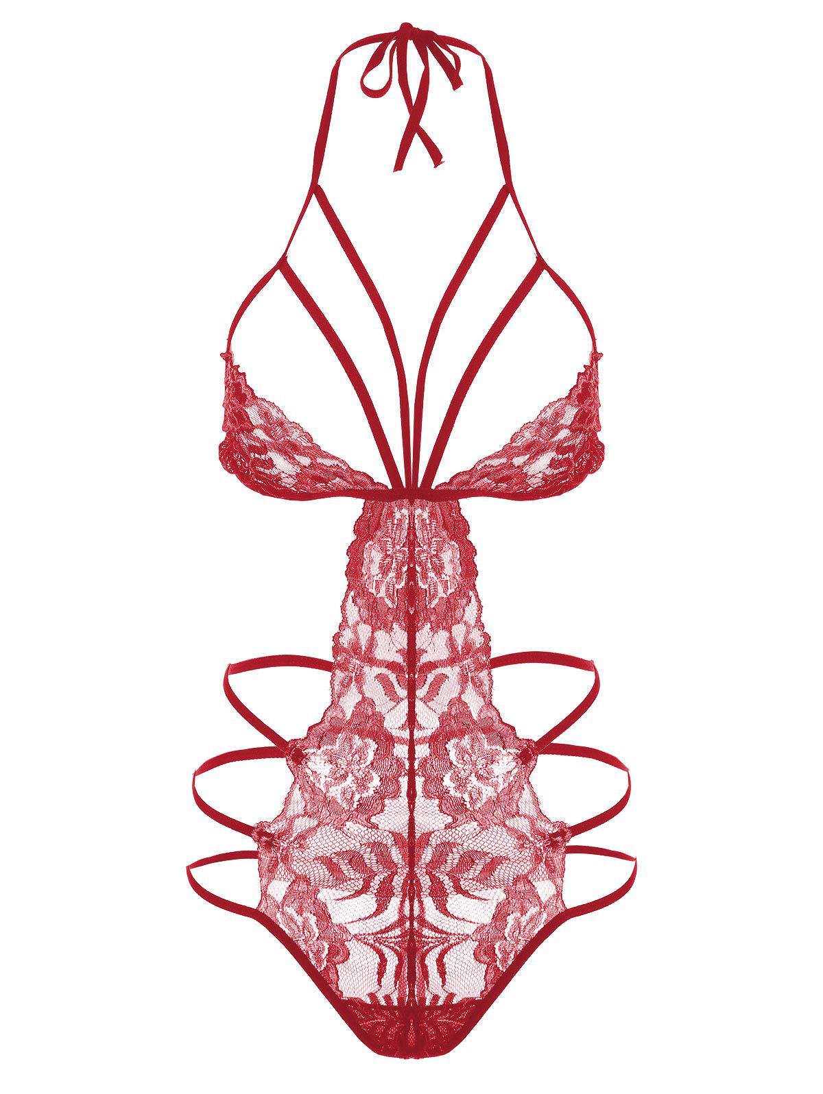 Lace Strappy Caged Lingerie Teddy - RED S