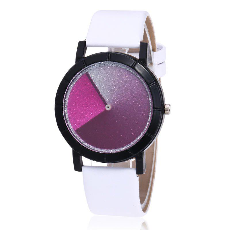 Faux Leather Glitter Ombre Watch - WHITE