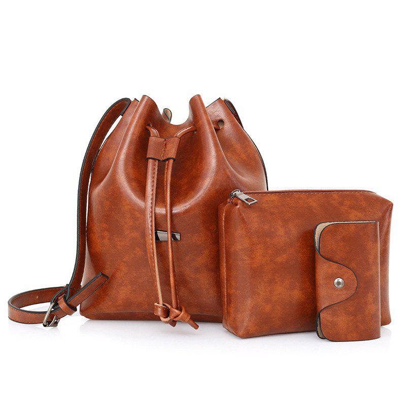 Faux Leather 3 Pieces Bucket Bag Set - BROWN