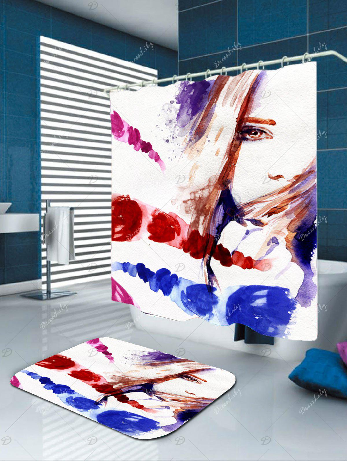 Waterproof Watercolor Girl Shower Curtain - COLORFUL W71 INCH * L79 INCH