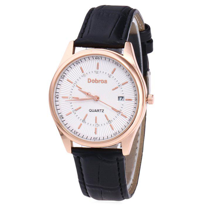 Montre Faux Leather Date Rhinestone - Blanc Noir