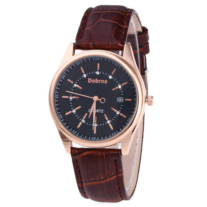 Faux Leather Date Rhinestone Watch - BLACK/BROWN