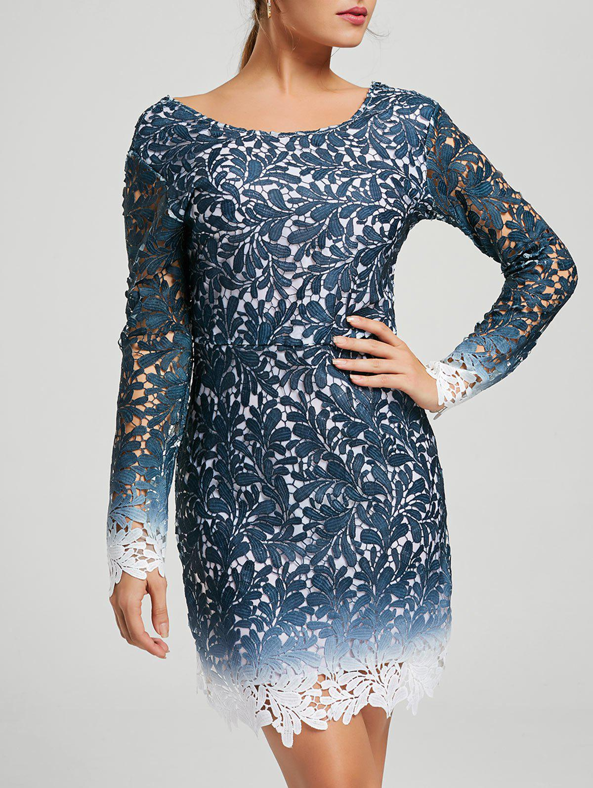 Ombre Lace Long Sleeve Open Back Dress - BLUE S